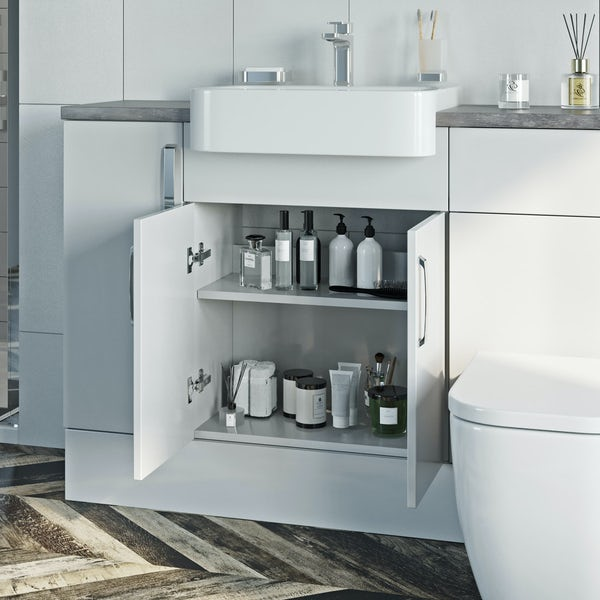 Reeves Nouvel gloss white tall fitted furniture combination with pebble grey worktop
