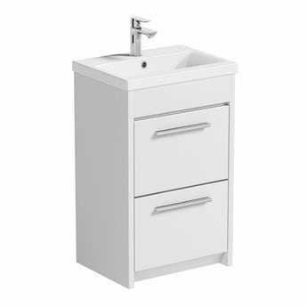 Clarity white floorstanding vanity unit and ceramic basin 510mm
