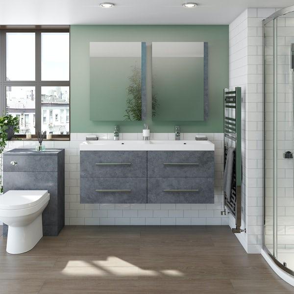 Orchard Kemp wall hung double vanity unit and basin 1200mm