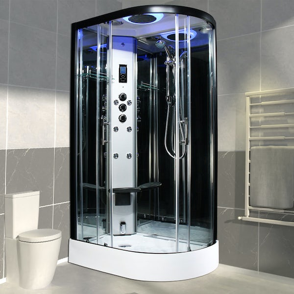 Insignia Premium black framed offset quadrant left handed steam shower cabin