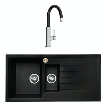 Bristan Gallery quartz right handed black easyfit 1.5 bowl kitchen sink with Melba black tap