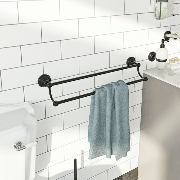 The Bath Co. 1805 black double towel rail