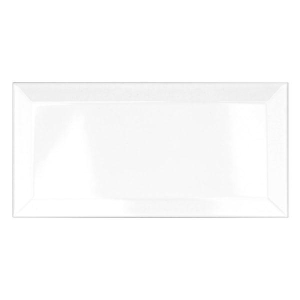 Metro white bevelled gloss wall tile 100mm x 200mm
