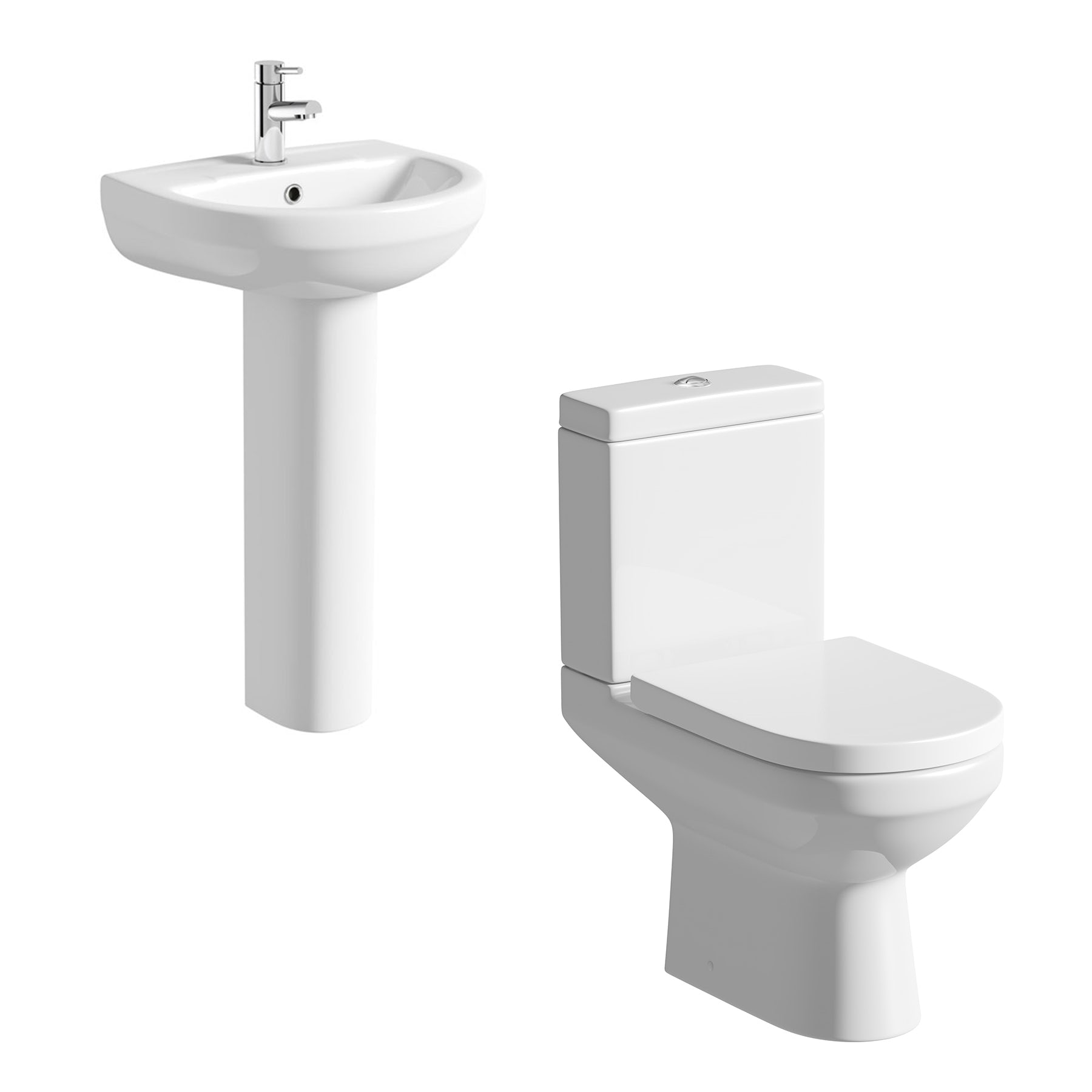 Orchard Balance cloakroom suite with full pedestal basin 540mm