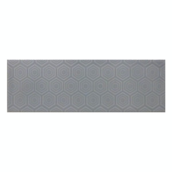Zenith dark grey patterned gloss wall tile 100mm x 300mm