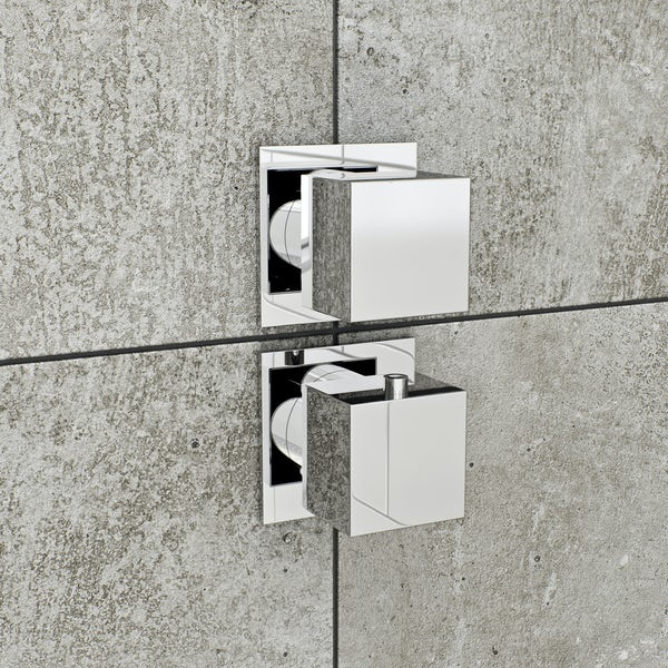 Mode Cooper square twin thermostatic shower valve with diverter