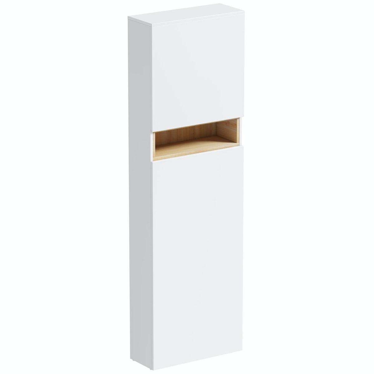 Mode Tate white & oak tall back to wall toilet unit