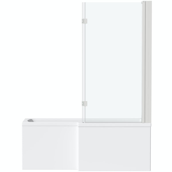 Mode L shaped right handed shower bath with 8mm hinged shower screen