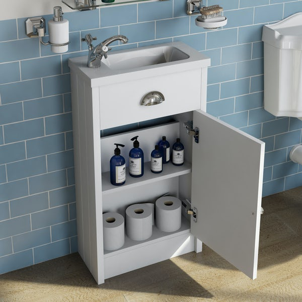 The Bath Co. Dulwich matt white cloakroom unit and traditional close coupled toilet with white wooden seat