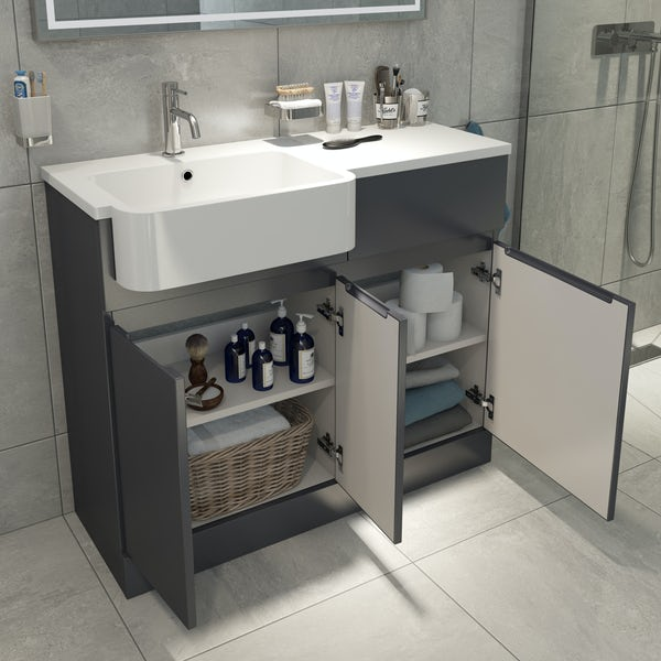Mode Roche grey floorstanding vanity and semi-recessed basin 1000mm