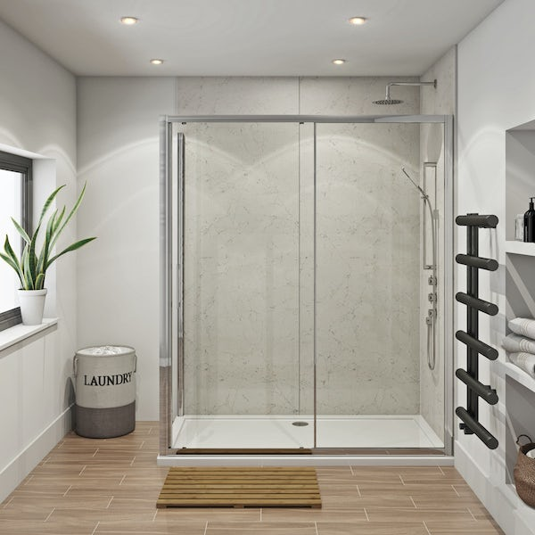 Mode Hardy shower enclosure pack 1700 x 700 with Multipanel Classic Marble shower wall panels