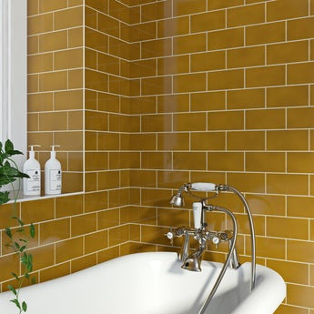 V&A puddle glaze honey plain field tile 152mm x 76mm