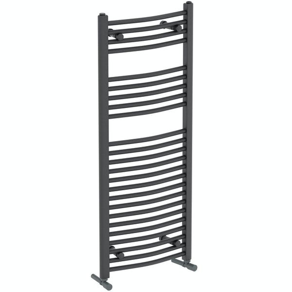 The Heating Co. Nassau anthracite grey curved heated towel rail