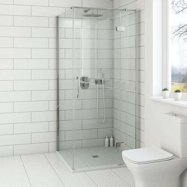 Mode white slate effect square stone shower tray 900 x 900