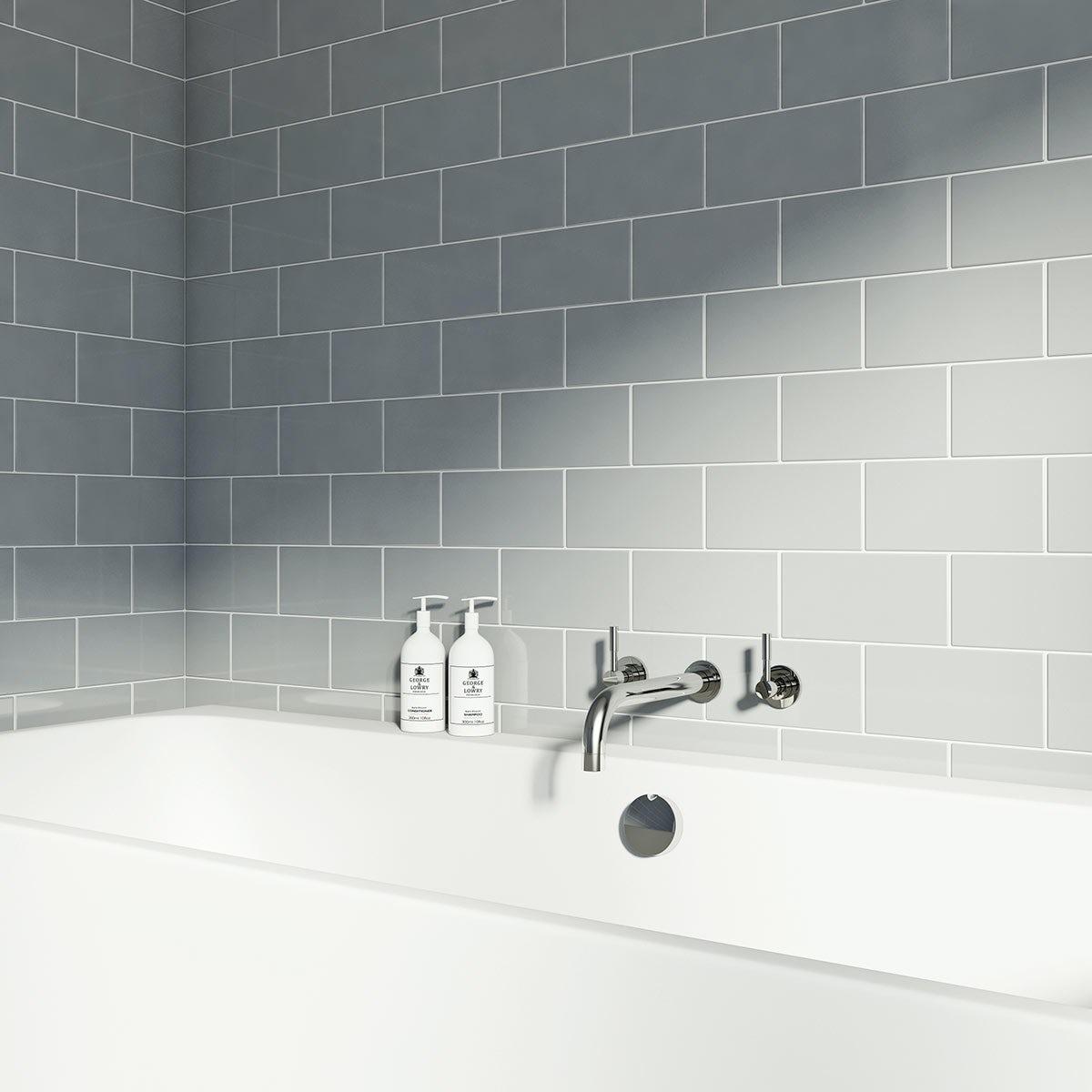 British Ceramic Tile Metro Flat Cloud Grey Gloss Tile