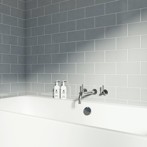 Ceramic Tile Bathroom | British Ceramic Tile Metro Flat Cloud Grey Gloss Tile 100mm X 200mm