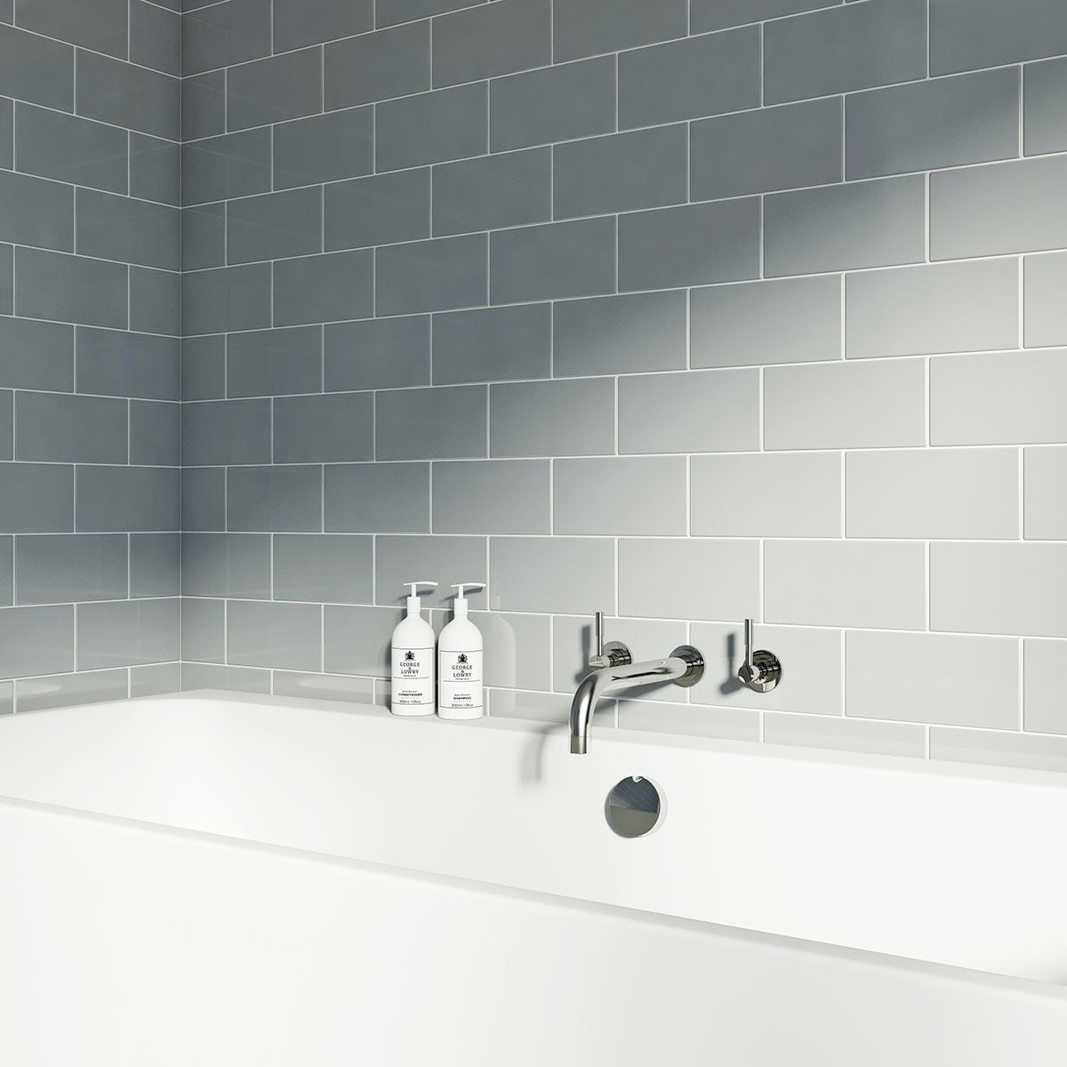 British Ceramic Tile Metro Flat Cloud Grey Gloss Tile