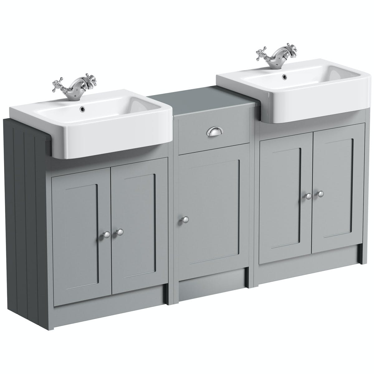 Orchard Dulwich Stone Grey Floorstanding Double Vanity Unit And Basin With Storage Combination Victoriaplum Com