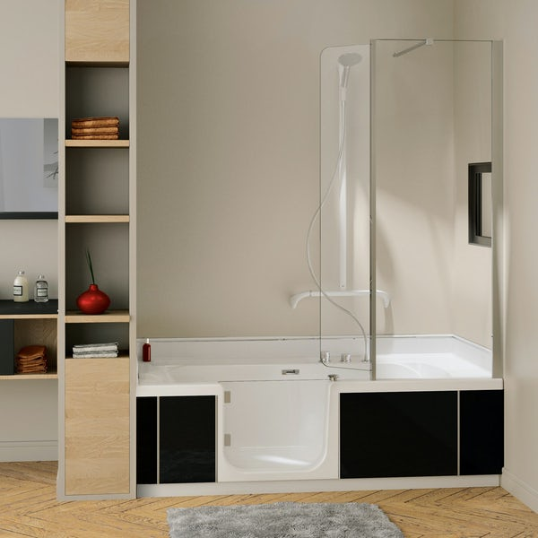 Kineduo left handed complete easy access shower bath with black panel 1700 x 750