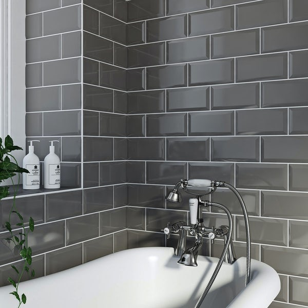 Metro dark grey gloss bevelled brick tile 100mm x 200mm