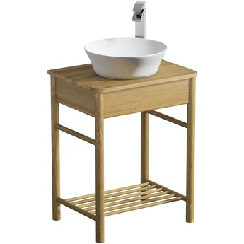 Mode South Bank natural wood washstand and top 600mm with Bowery countertop basin, tap and waste