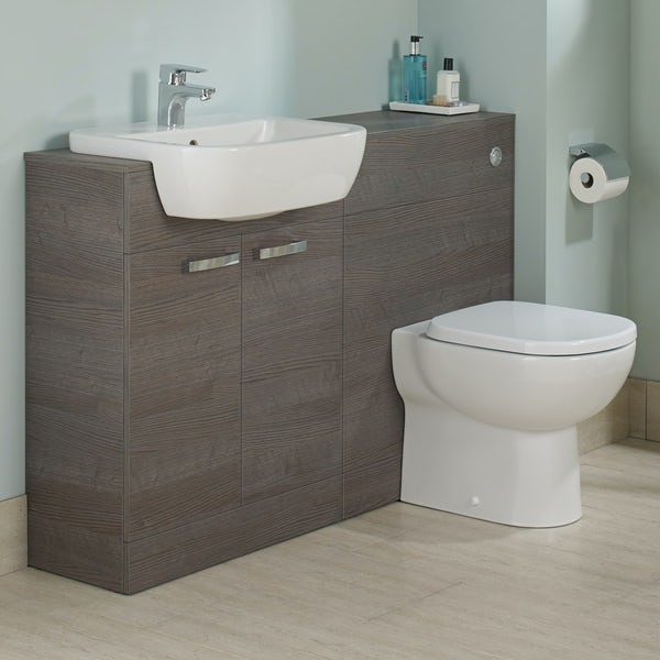 Ideal standard tempo sandy grey vanity door unit and basin for Diagonal ideal standard