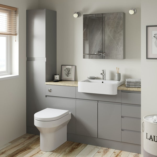 Orchard Wharfe slate grey straight small drawer fitted furniture pack with beige worktop