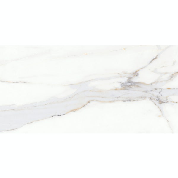 Storm white marble effect gloss wall and floor tile 300mm x 600mm