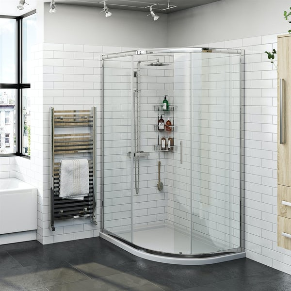 Orchard 6mm right handed offset quadrant shower enclosure and stone shower tray