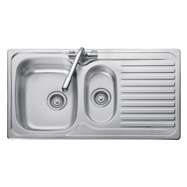 Leisure Linear 1.5 bowl reversible kitchen sink | VictoriaPlum.com