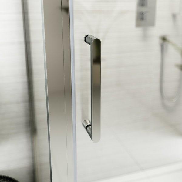 Louise Dear Kiss Kiss Bam Bam acrylic shower wall panel with 1200 x 900mm rectangular enclosure