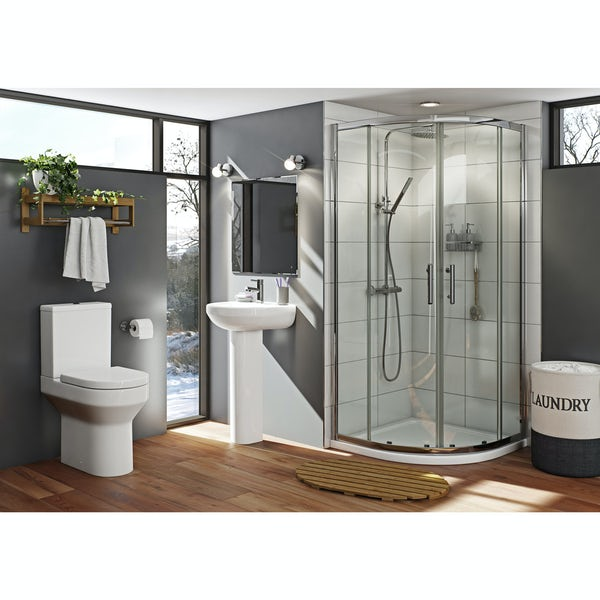 Oakley suite with sliding quadrant shower enclosure and Mira Antislip shower tray