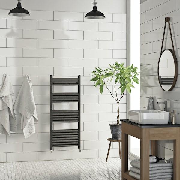 Mode Carter charcoal black heated towel rail 1020 x 500