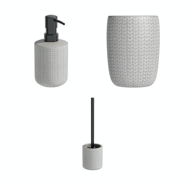 Accents Maya grey ceramic 3 piece bathroom set