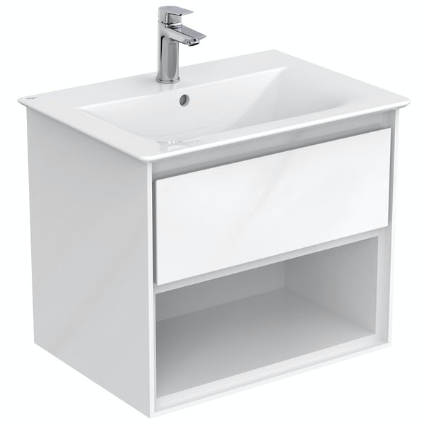 Ideal Standard Concept Air gloss and matt white open vanity unit with close coupled toilet