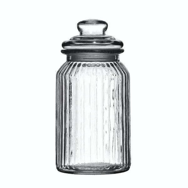 Ribbed glass 1300ml storage jar