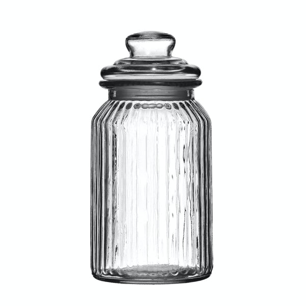 Ribbed glass 1300ml storage jar