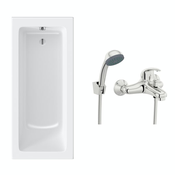 Orchard square edge single ended straight bath 1700 x 700 with free tap