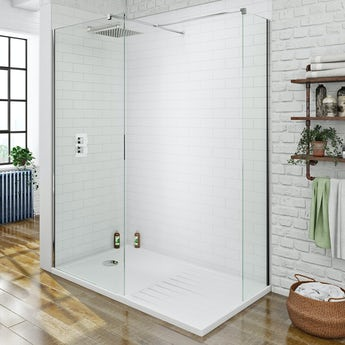 Orchard spacious 8mm walk in shower enclosure with shower tray 1400 x 900