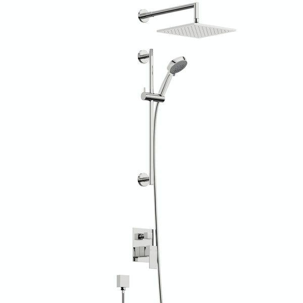 Orchard Square concealed manual mixer shower with 390mm wall arm and slider rail