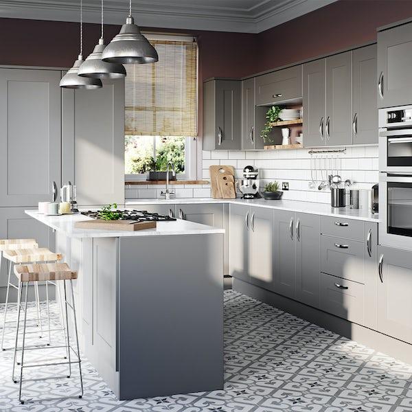 Schon New England light grey shaker 600mm double oven housing unit