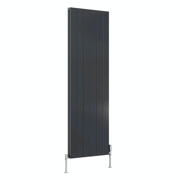 Reina Casina anthracite grey double vertical aluminium designer radiator