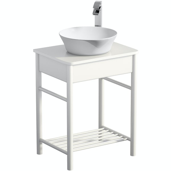 Mode South Bank white washstand with Bowery basin, tap and waste