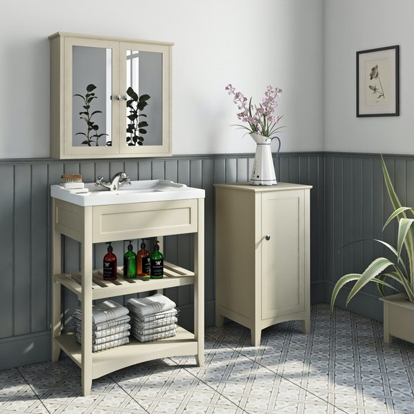 The Bath Co. Camberley satin ivory furniture package with storage unit