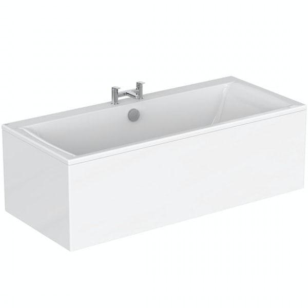 Ideal Standard Concept Air double ended rectangular bath and front panel 1700 x 750 with free bath waste
