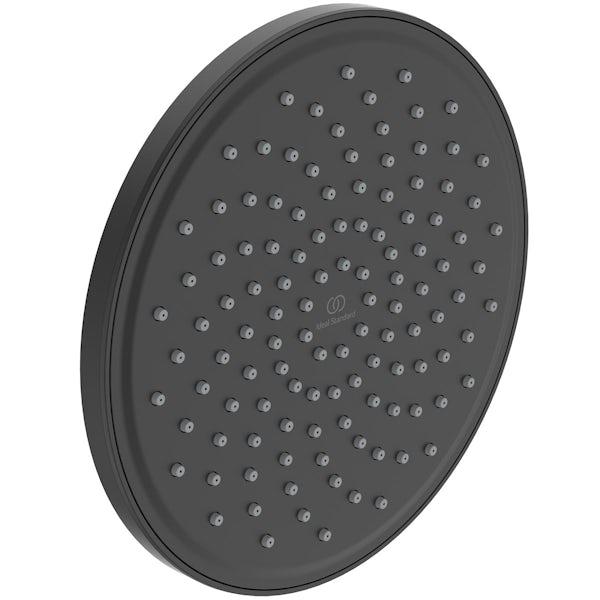 Ideal Standard Idealrain silk black round 200mm shower head + ceiling arm