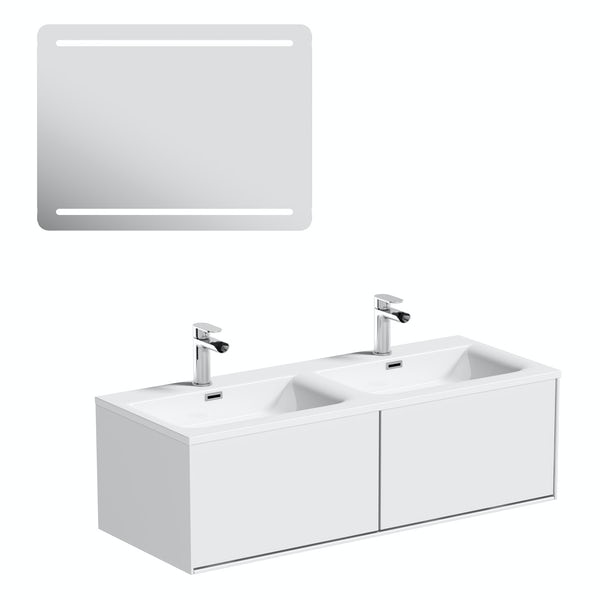 Mode Burton white wall hung double basin vanity unit 1200mm & LED mirror offer
