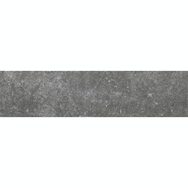 Ibera dark grey stone effect matt wall tile 100mm x 400mm