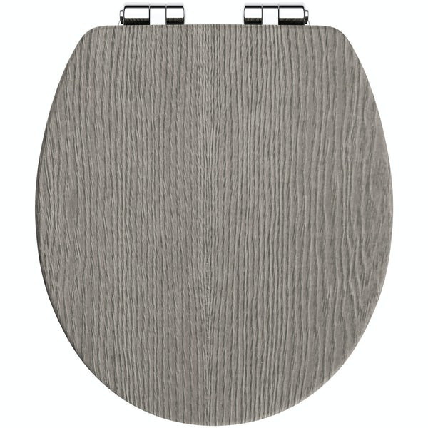 The Bath Co. traditional grey oak effect soft close seat