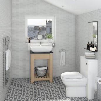 Graham Brown Rimini Tile Grey Shimmer Wallpaper
